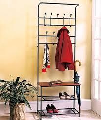 1 X Metal Entryway Storage Bench With Coat Rack