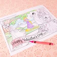 Disney Princess Valentines Day Coloring Page