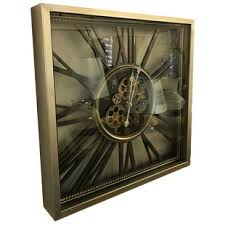 Martiques Square Mechanical Moving Gear Skeleton Wall Clock