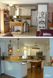 Awesome Kitchen Renovations Before And After With White Wooden Cabinets Plus Countertop Combined Table At