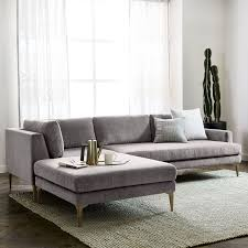 Extra Deep Seated Sectional Sofa by Andes 3 Piece Chaise Sectional West Elm