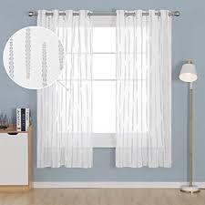 deconovo gardinen transparent in leinenoptik wohnzimmer schlafzimmer vorhang modern büro jacquard grau 245x140 cm 2er set