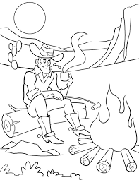 Cowboy Campfire Coloring Page For Children