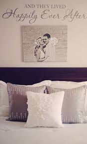Cotton Anniversary Gift Idea For The Master Bedroom Custom Home Decor Wedding Photo Printed On Canvas With Words In Background Hung Above Bed