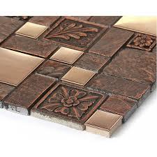 Brushed stainless steel tiles brass resin metal mosaic tile