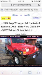Official Craigslist Thread | Page 16 | Jeep Wrangler TJ Forum Chicago Craigslist Org Cars Best Car 2017 Enchanting St George By Owner Gift Classic Amazing And Trucks 268 1970 Volvo P1800e Coupe Lands On 10 Al Capone May Have Driven Long Hauler 1978 Chevrolet C30 Illinois Used Online Help For And New 2019 Ram 1500 Sale Near Il Naperville Lease Auto For Sale Il Ltt Decatur By Vehicle In