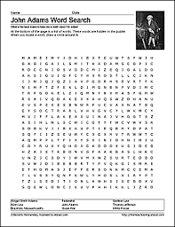 John Adams Wordsearch Worksheets Coloring Pages