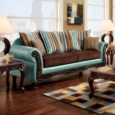 mulligan teal leatherette dark brown fabric sofa accent pillows