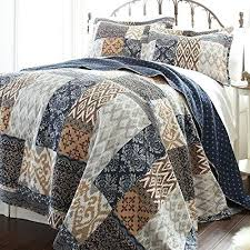 King Quilt Sets Brown Blue Tan White King Quilt Set Geometric