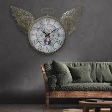 wanduhr groß wohnzimmeruhr wanduhr retro analog flügel römisches ziffernblatt eisen lxb 43 x 70 cm wohnzimmer