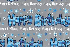 5 X Blue Silver Stars Happy Birthday Boys Mens Gift Wrap