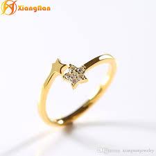 2018 S925 Silver Star Ring Rose Gold Cz Diamond Wedding Rings