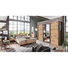 lifestyle4living schlafzimmer komplett set in plankeneiche dekor und graphit 4 teilig komplettset mit kleiderschrank bett und nachtschränken im