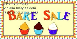 Clip Art Image of a Bake Sale Sign With Cupcakes