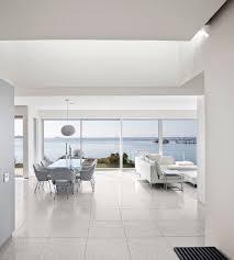 Modern Dining Living Room Ideas White Furniture Terrazzo Floor Tiles Panorama Windows