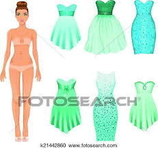 Clipart Of Vector Dress Up Doll With An Assortment Turquoise