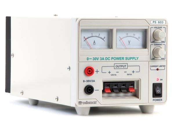 Velleman PS603U - Laboratory Power Supply (0-30vdc + 5VDC + 12VDC) with Analog Display