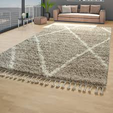 skandi teppich wohnzimmer beige creme hochflor shaggy rauten fransen weich größe 160x220 cm