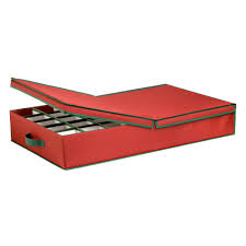 Ornament Storage Box With Dividers Red Green