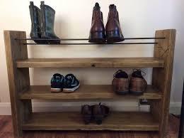 Reclaimed Wood Shoe Rack With Steel Rebar Rustic