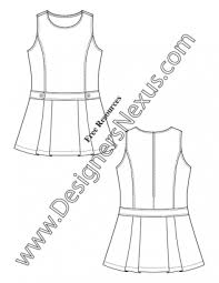 027 Childrens Flat Fashion Sketch Girls Dress