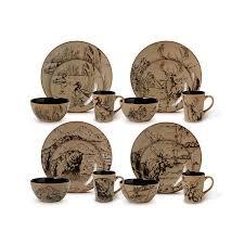 Dinnerware Set Dishes 16 Piece Wildlife Rustic Bear Moose Duck Deer Mug Gift New