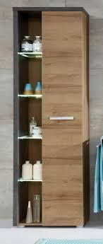 badezimmer hochschrank eiche honig nb und grau beton design 48 x 196 cm badschrank mit soft badmöbel bay