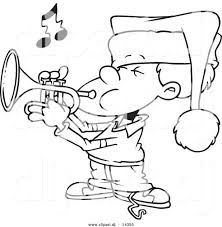 Music Coloring Printables Vector Cartoon Boy Playing Trumpet Page Outline Pages For Kindergarten Printable