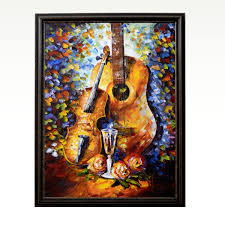 Guitar Rhythm Of Strings Oil Knife Palette Canvas Painting Antikcart