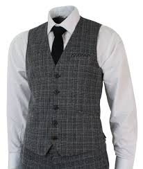 Mens Check Vintage Retro Herringbone Tweed Grey Black