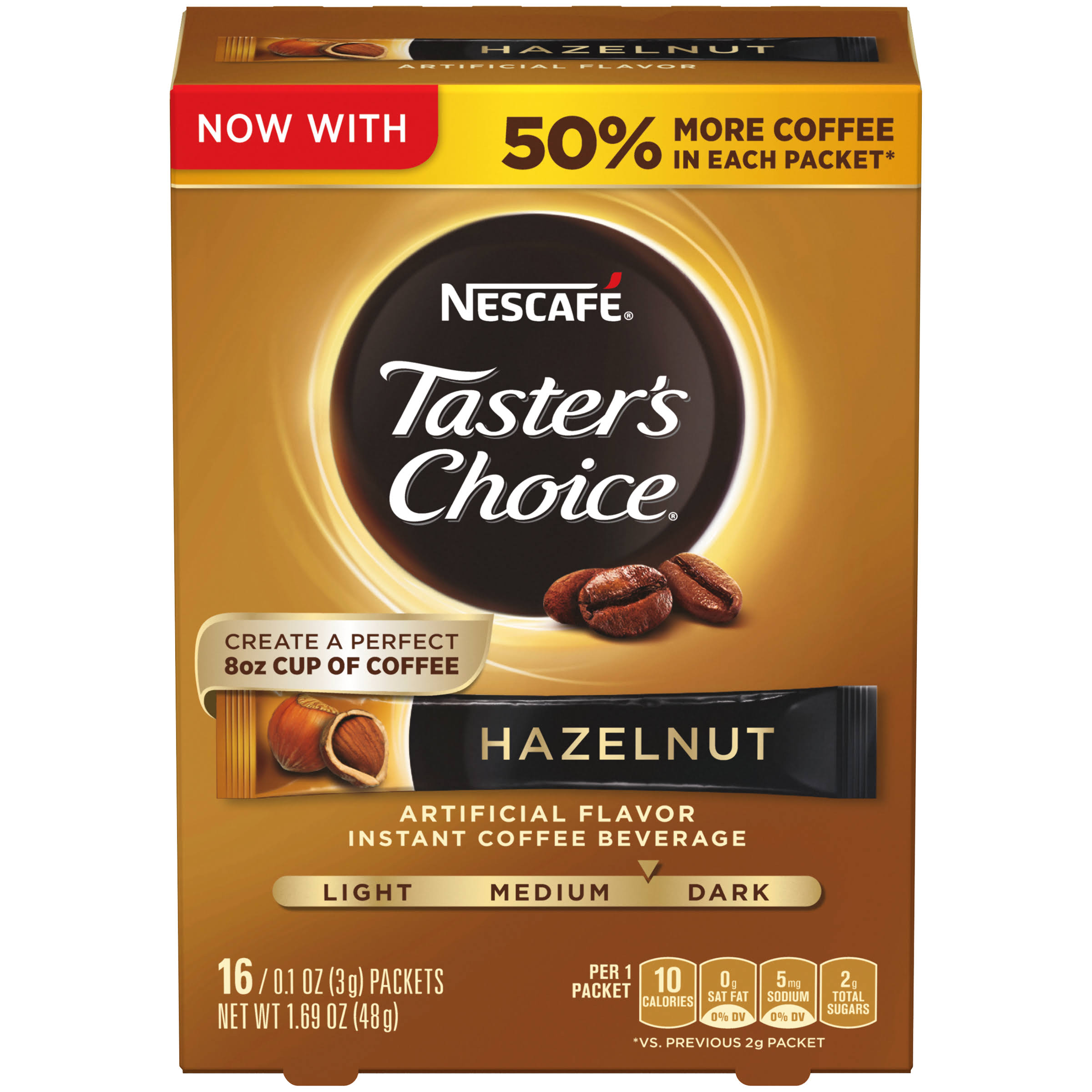 Nestle Taster's Choice Instant Coffee - Hazelnut, 1.69lb, Pack of 16