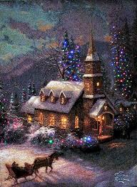 Thomas Kinkade Christmas Tree Cottage by Sunday Evening Sleigh Ride Artist Thomas Kinkade Art