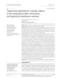 Topical Dorzolamide For Macular Edema In The Early Phase After Vitrec