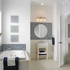 grey white bathroom decoration using black white mosaic tile