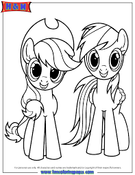 My Little Ponies Coloring Pages Applejack And Rainbow Dash