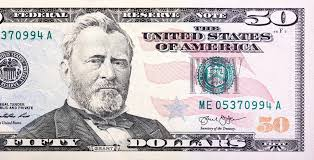 A US Fifty 50 Dollar Bill Close Up Of Grant Photo By Yamabikay