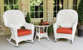 Sea Pines 3pc Rocker Set - White Wicker Resin Wicker Porch Rockers Easy Care Rocker Charleston Rocking Chair Camel Back Chairs Set Of Two White Summer Outdoor Belwood With Floral Cushions 3pc Cushion And End Table Faux Book Pocket Coral Coast With Khaki The Portside Plantation All Weather Tortuga