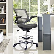 amazon com modway edge drafting chair in gray vinyl reception