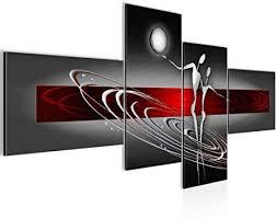 runa wandbild wohnzimmer abstrakt figuren rot grau 4