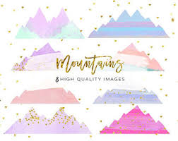 Mountain Clip Art Wedding Clipart Watercolor Greatest Adventure Rainbow