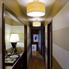 striped green hallway colour ideas with semi flush mount