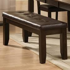 Dining Room Espresso Bench Tufted Leather