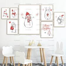nette weihnachten poster schneemann rot weiß dekoration leinwand maler mit wohnzimmer schlafzimmer wand dekoration malerei hd drucken