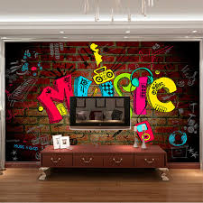 Music Graffiti Photo Wallpaper 3D Bedroom Kid Room Decor Club Bar Wedding Decoration Fashion Design