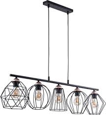 design pendelleuchte schwarz kupfer metall 5 flammig länglich stylisch galaxy esstisch wohnzimmer hängele
