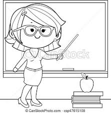 Teacher Teaching At Class Coloring Book Page