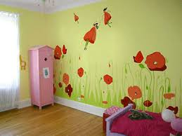 Children Bedroom Yellow Green Painting Color Floral Wall