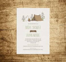 Printable Bridal Shower Invitation Camping campfire trees forest