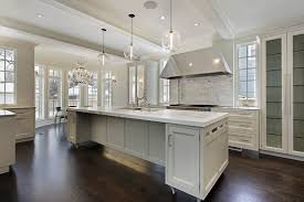 White Kitchen With Light Gray Wood Floor Modern Beautiful Fixtures Pretty Snapshot Cabinet Pendant Lights And