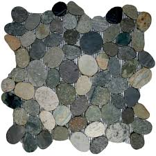 details about sliced bali pebble tile 12 x 12 river rock